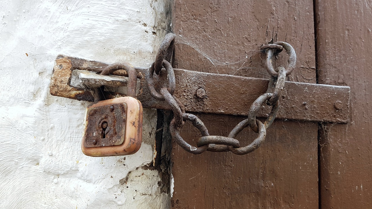 Rusted old lock and chain in a wooden door so unused it has spider webs.